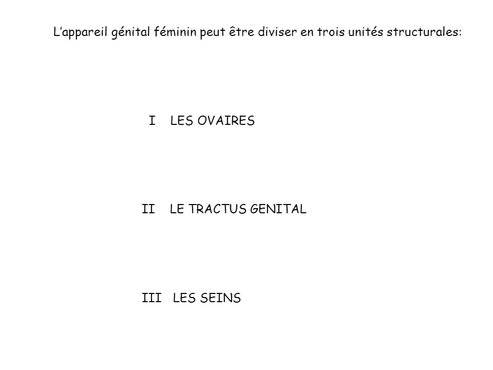 L'appareil génital féminin peut être diviser en trois unités structurales: