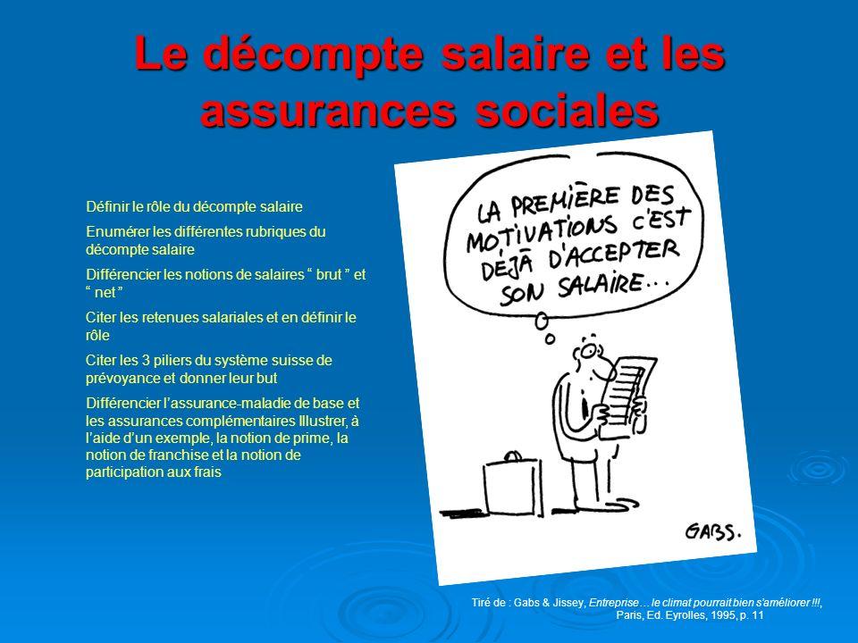 Le décompte salaire et les assurances sociales