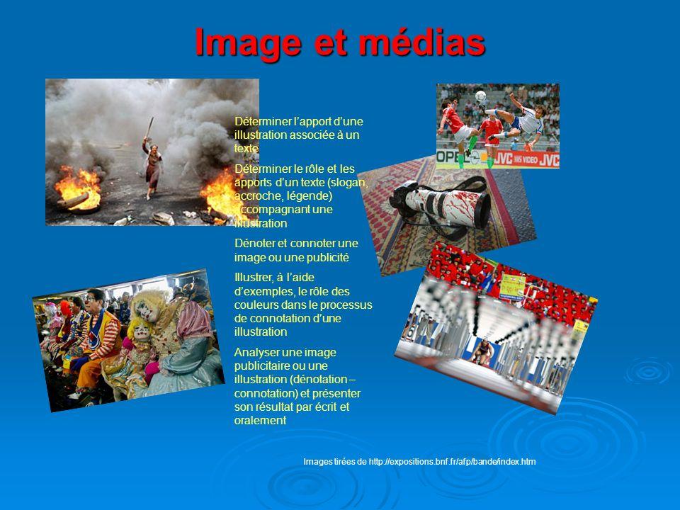 Image et médias Déterminer l'apport d'une illustration associée à un texte.