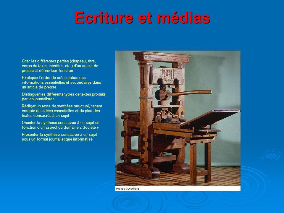 Ecriture et médias Citer les différentes parties (chapeau, titre, corps du texte, intertitre, etc.) d'un article de presse et définir leur fonction.