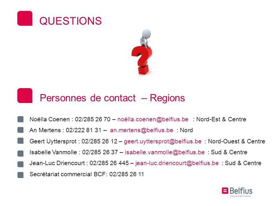 QUESTIONS Personnes de contact – Regions