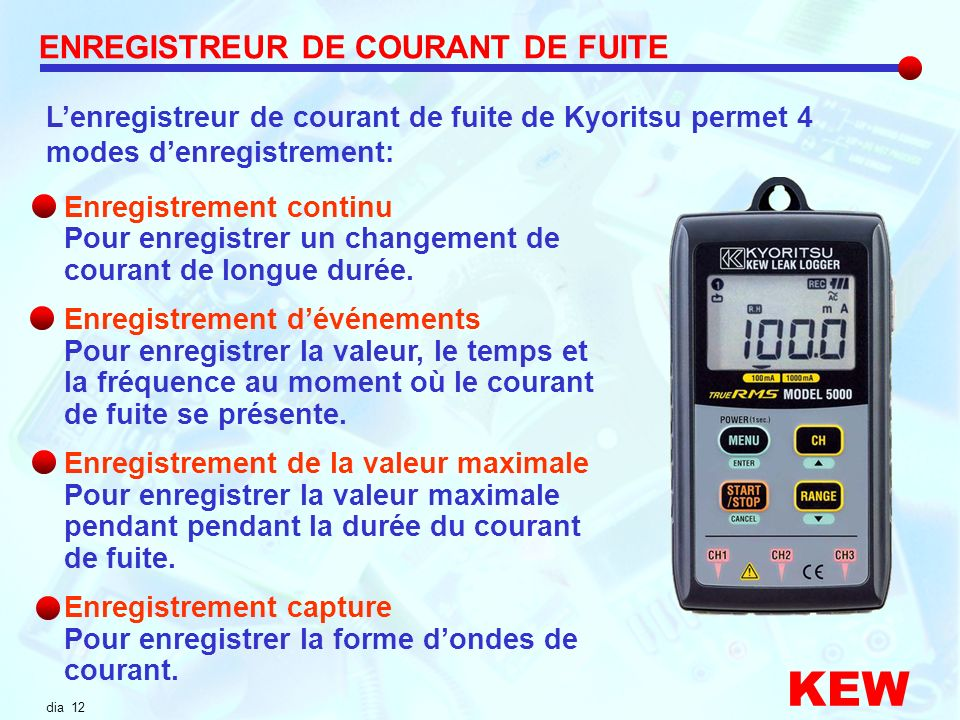 KEW ENREGISTREUR DE COURANT DE FUITE