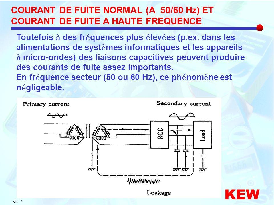 COURANT DE FUITE NORMAL (A 50/60 Hz) ET COURANT DE FUITE A HAUTE FREQUENCE