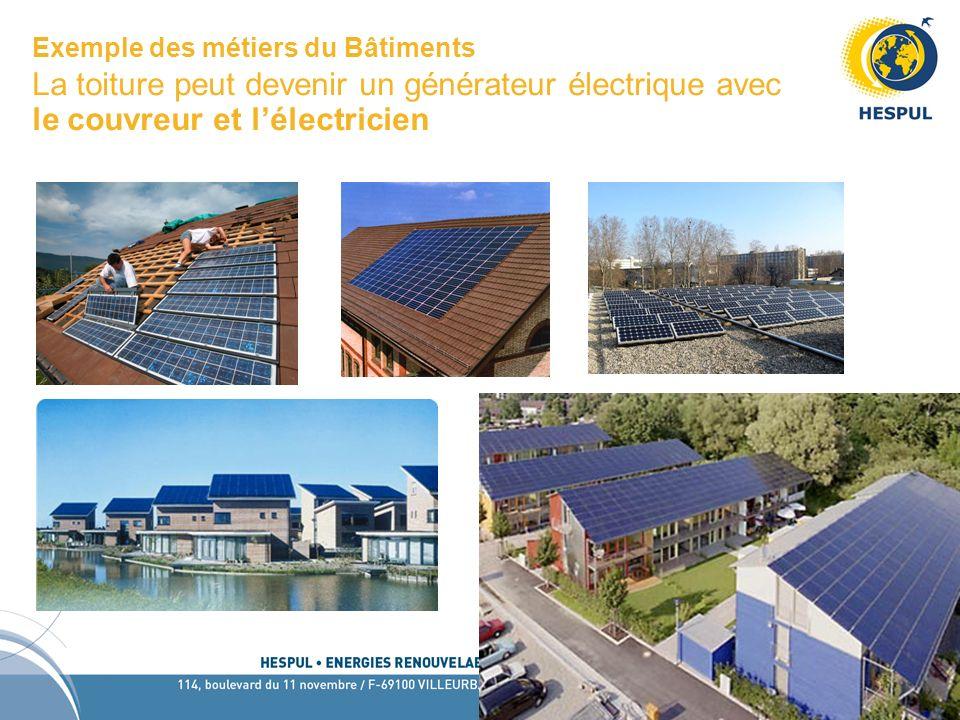 Exemple des métiers du Bâtiments La toiture peut devenir un générateur électrique avec le couvreur et l'électricien