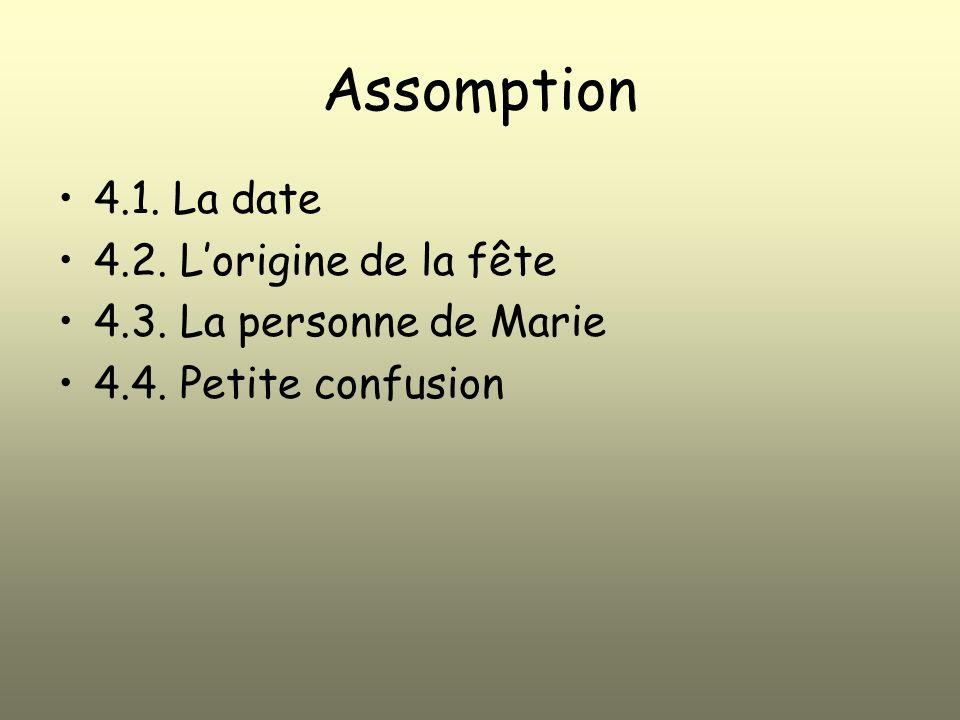 Assomption 4.1. La date 4.2. L'origine de la fête