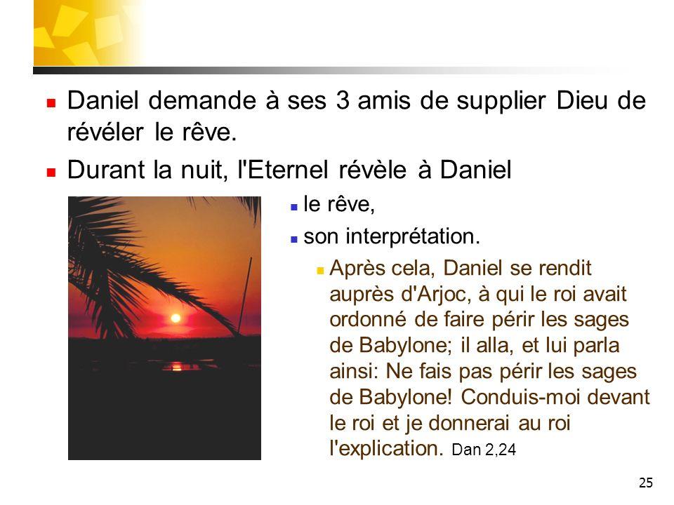 Daniel demande à ses 3 amis de supplier Dieu de révéler le rêve.