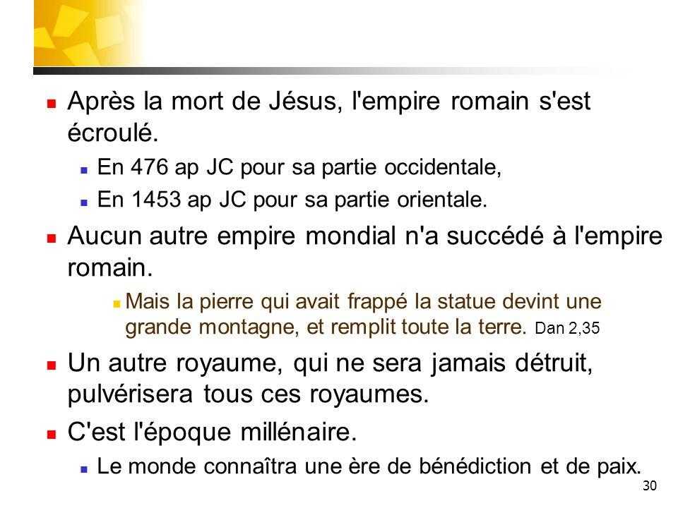 Après la mort de Jésus, l empire romain s est écroulé.