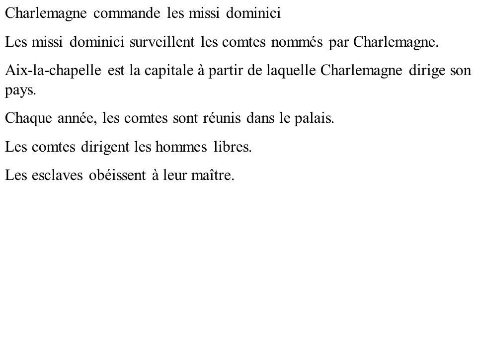 Charlemagne commande les missi dominici