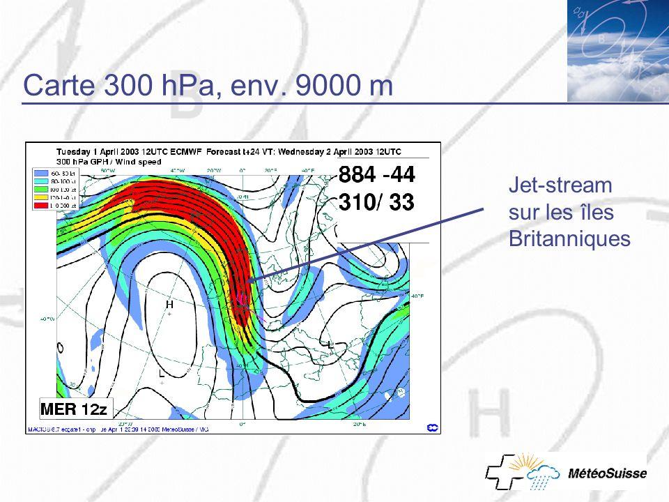 Carte 300 hPa, env. 9000 m Jet-stream sur les îles Britanniques
