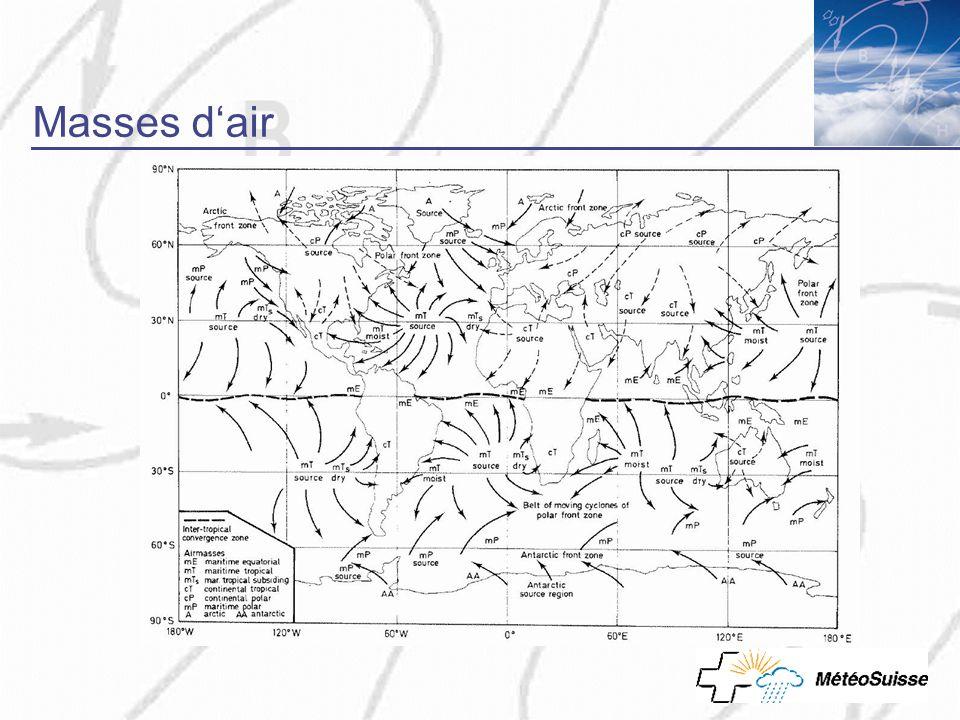 Masses d'air Cliquez sur www.meteosuisse.ch, vous arrivez directement sur la page internet! Montrez le site!