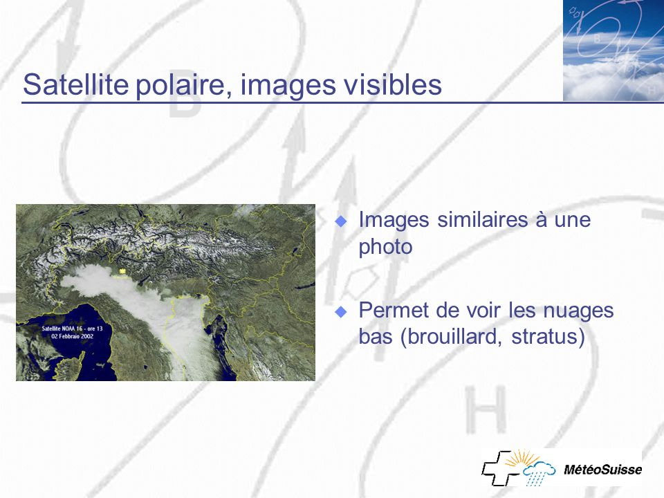 Satellite polaire, images visibles