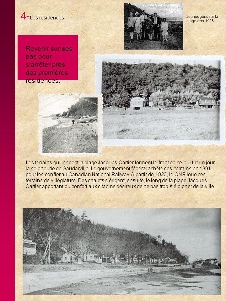 4-Les résidences Jeunes gens sur la plage vers 1935. Revenir sur ses pas pour s'arrêter près des premières résidences.