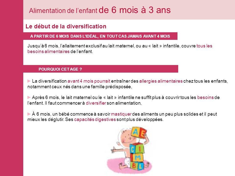 Alimentation de l'enfant de 6 mois à 3 ans