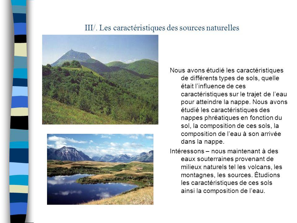 III/. Les caractéristiques des sources naturelles