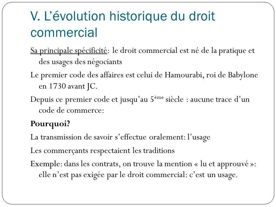 V. L'évolution historique du droit commercial