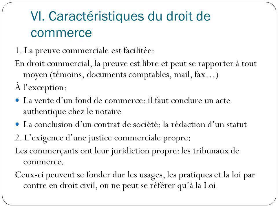 VI. Caractéristiques du droit de commerce