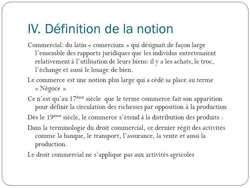 IV. Définition de la notion