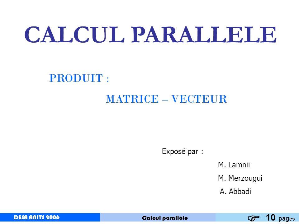 CALCUL PARALLELE PRODUIT : MATRICE – VECTEUR 10 pages Exposé par :