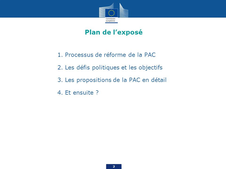 Plan de l'exposé 1. Processus de réforme de la PAC