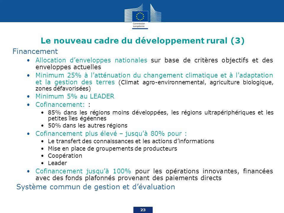 Le nouveau cadre du développement rural (3)