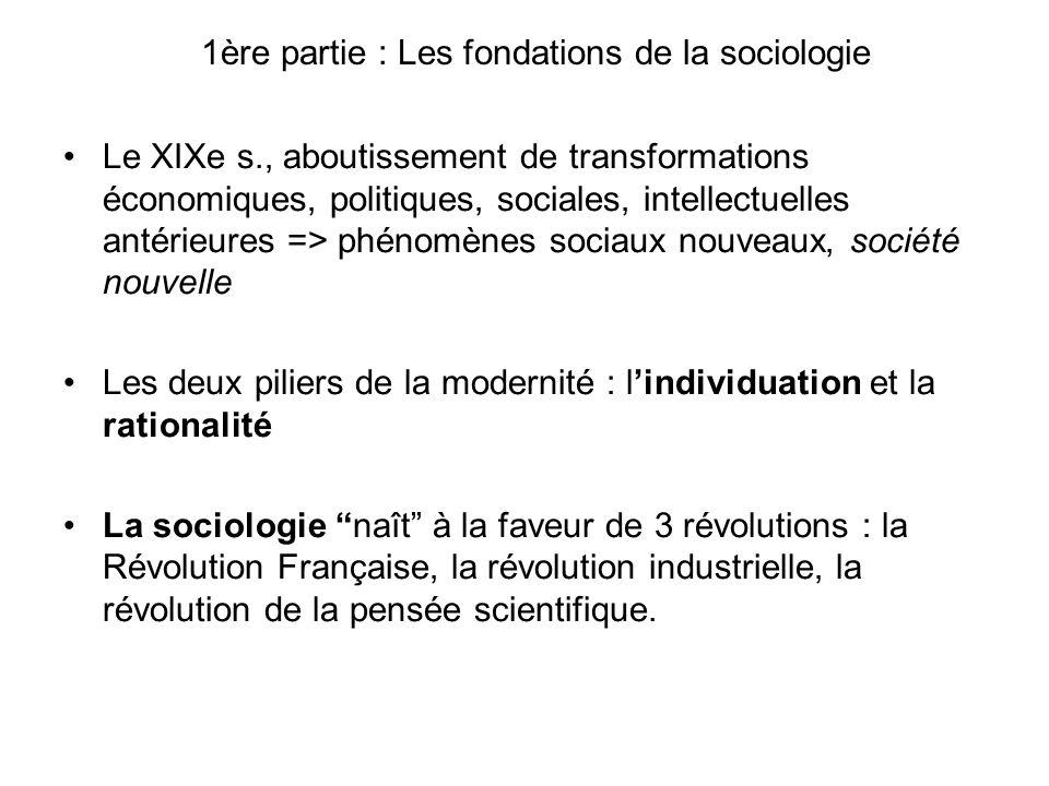 1ère partie : Les fondations de la sociologie