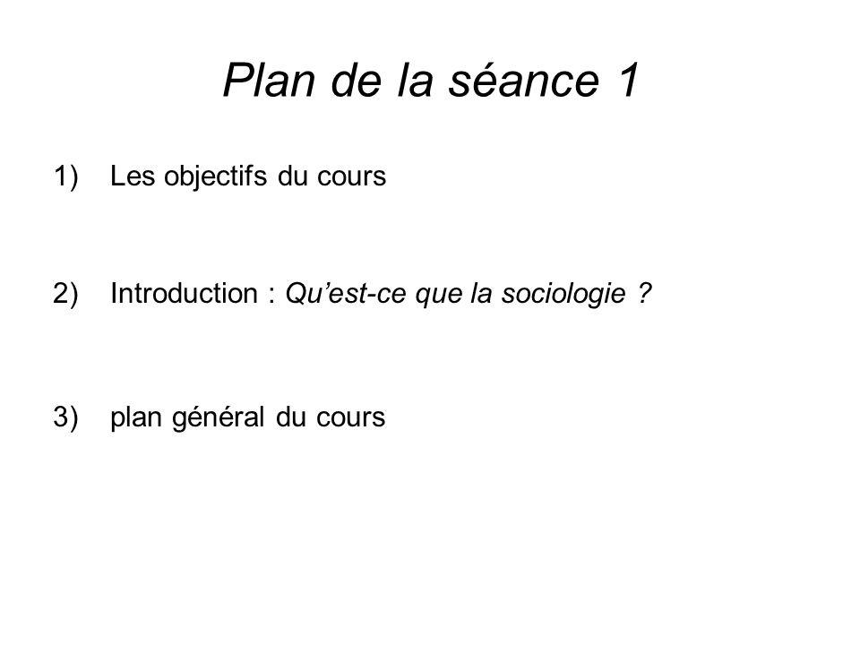 Plan de la séance 1 Les objectifs du cours