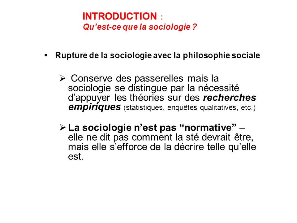 INTRODUCTION : Qu'est-ce que la sociologie Rupture de la sociologie avec la philosophie sociale.
