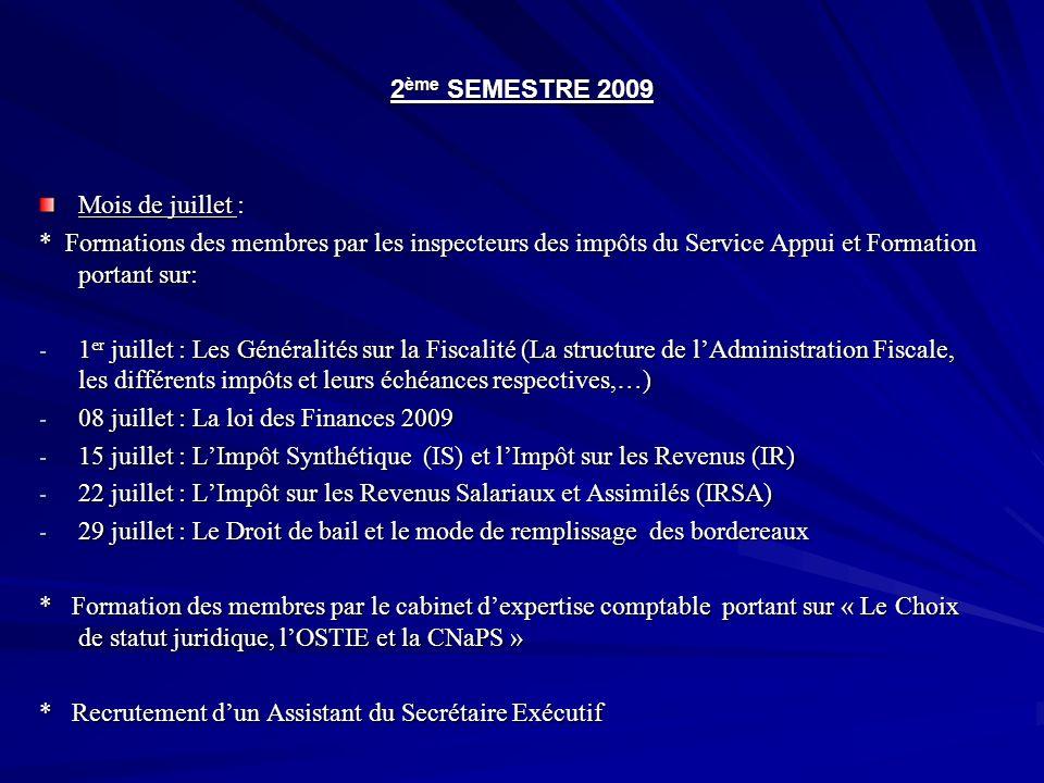 2ème SEMESTRE 2009 Mois de juillet : * Formations des membres par les inspecteurs des impôts du Service Appui et Formation portant sur: