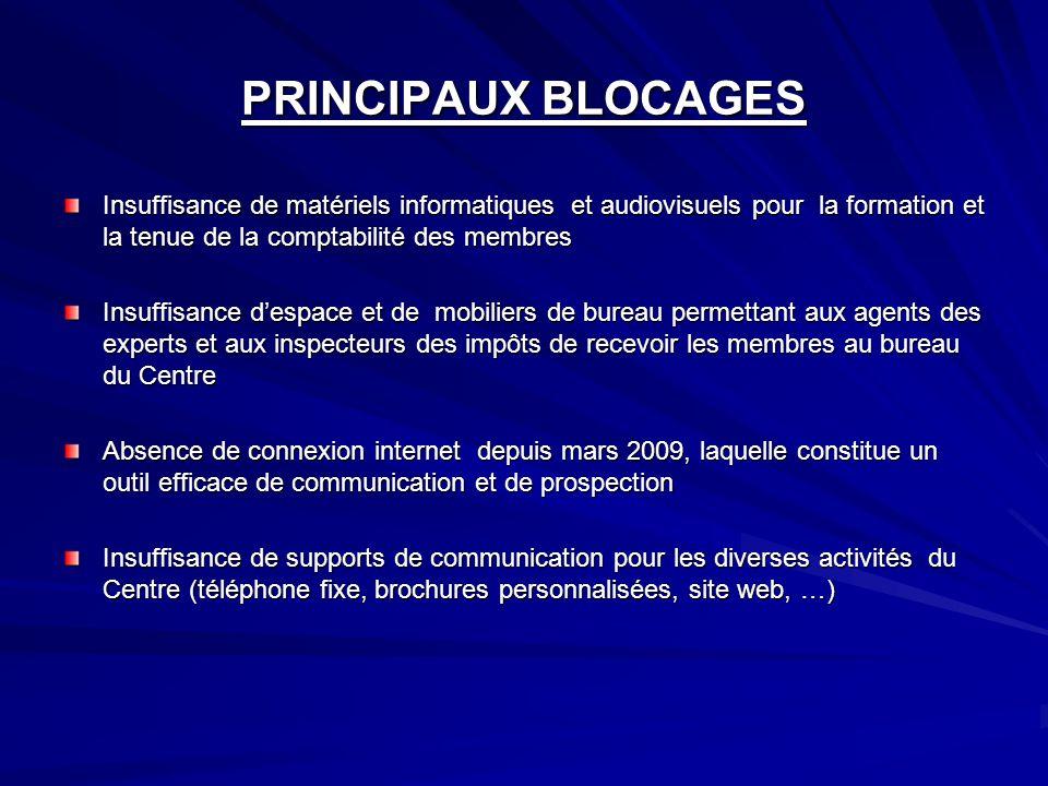 PRINCIPAUX BLOCAGESInsuffisance de matériels informatiques et audiovisuels pour la formation et la tenue de la comptabilité des membres.