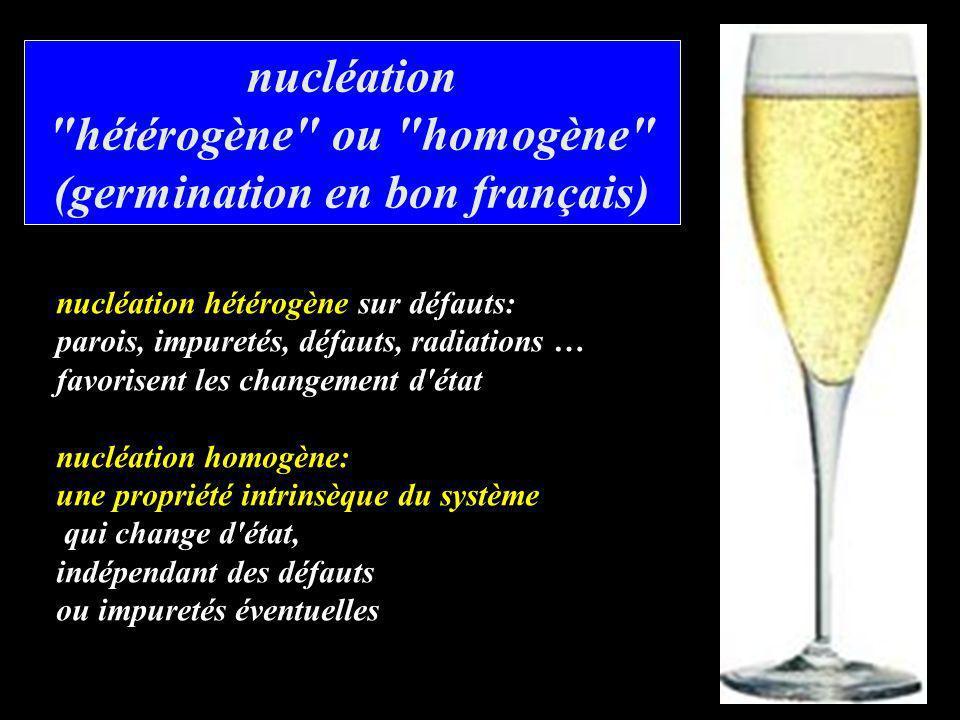 nucléation hétérogène ou homogène (germination en bon français)