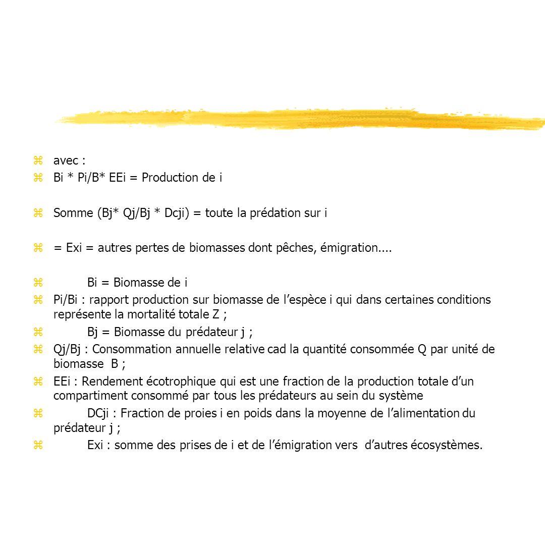 avec : Bi * Pi/B* EEi = Production de i. Somme (Bj* Qj/Bj * Dcji) = toute la prédation sur i.