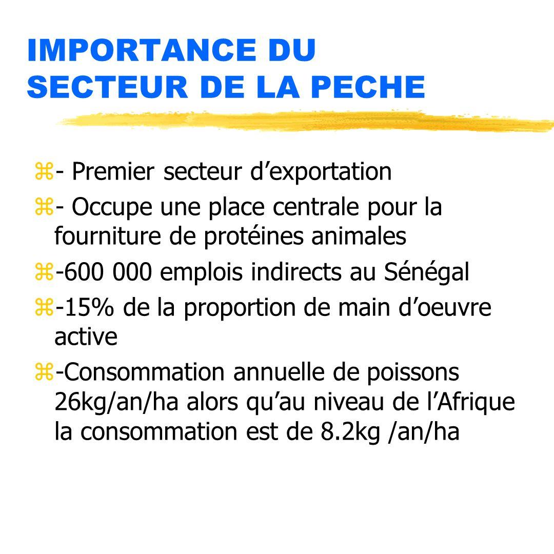 IMPORTANCE DU SECTEUR DE LA PECHE
