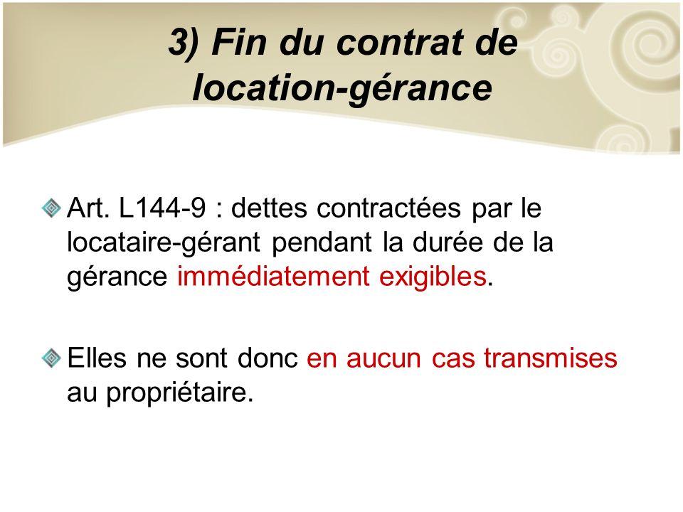 3) Fin du contrat de location-gérance