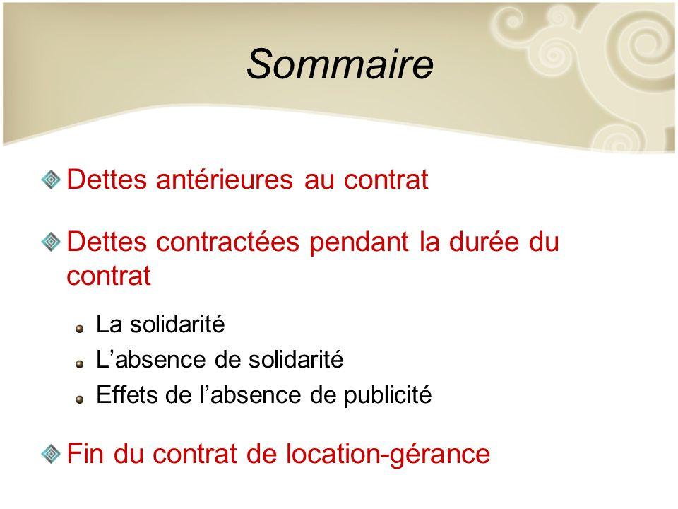 Sommaire Dettes antérieures au contrat