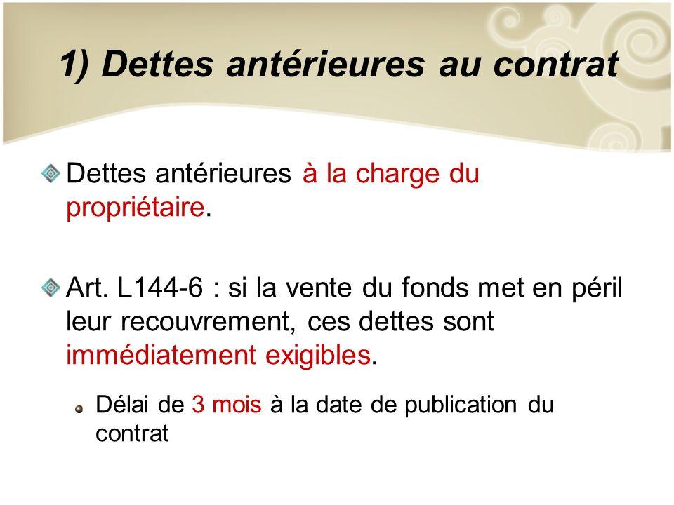 1) Dettes antérieures au contrat