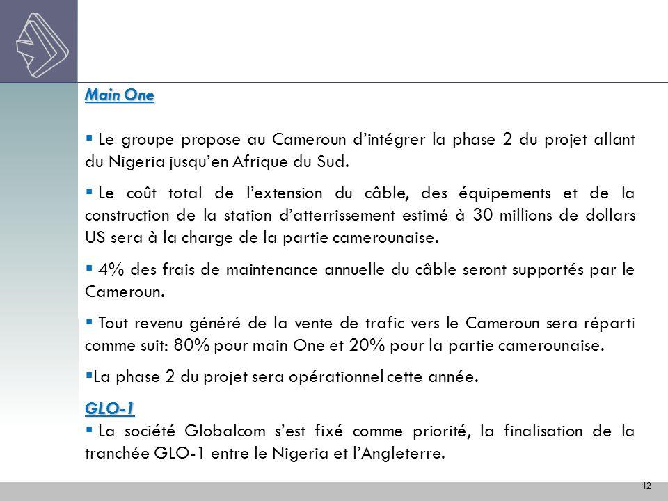 Main One Le groupe propose au Cameroun d'intégrer la phase 2 du projet allant du Nigeria jusqu'en Afrique du Sud.