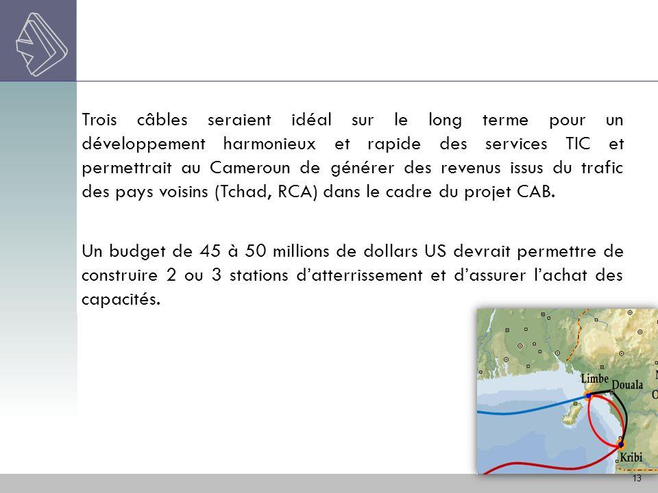 Trois câbles seraient idéal sur le long terme pour un développement harmonieux et rapide des services TIC et permettrait au Cameroun de générer des revenus issus du trafic des pays voisins (Tchad, RCA) dans le cadre du projet CAB.