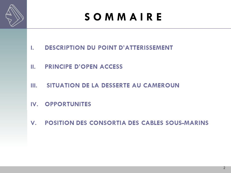 S O M M A I R E DESCRIPTION DU POINT D'ATTERISSEMENT