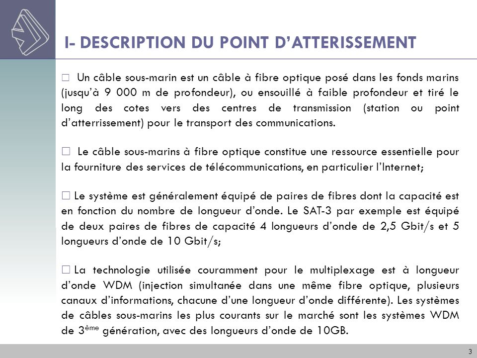 I- DESCRIPTION DU POINT D'ATTERISSEMENT