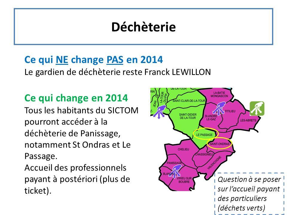 Déchèterie Ce qui NE change PAS en 2014 Ce qui change en 2014