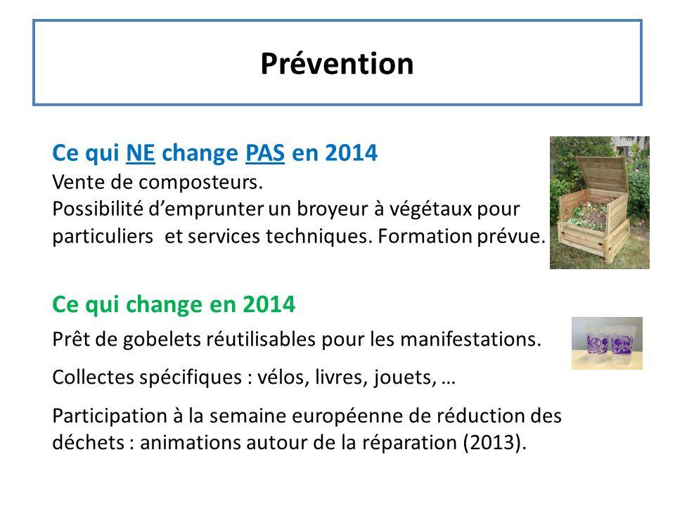 Prévention Ce qui NE change PAS en 2014 Ce qui change en 2014