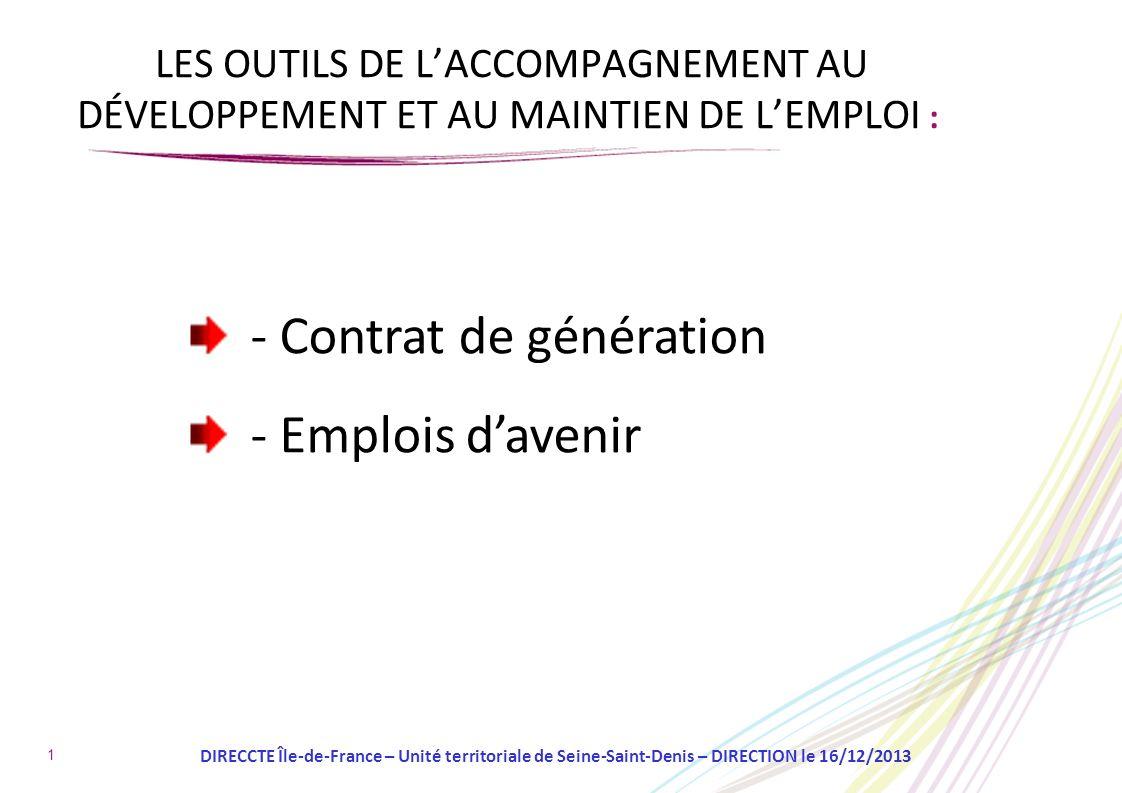 - Contrat de génération - Emplois d'avenir