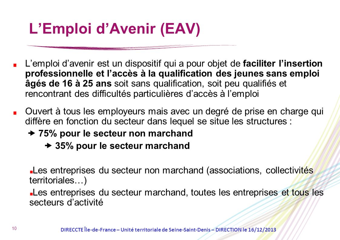 L'Emploi d'Avenir (EAV)