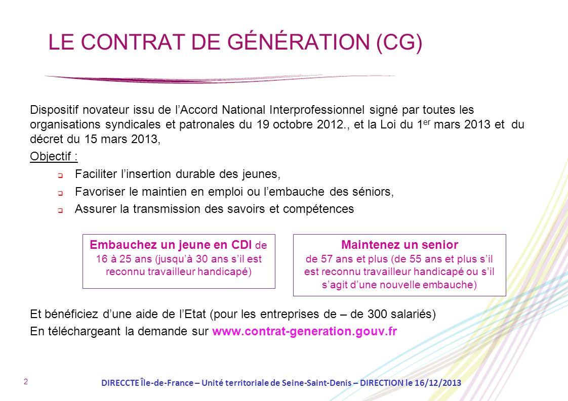 LE CONTRAT DE GÉNÉRATION (CG)