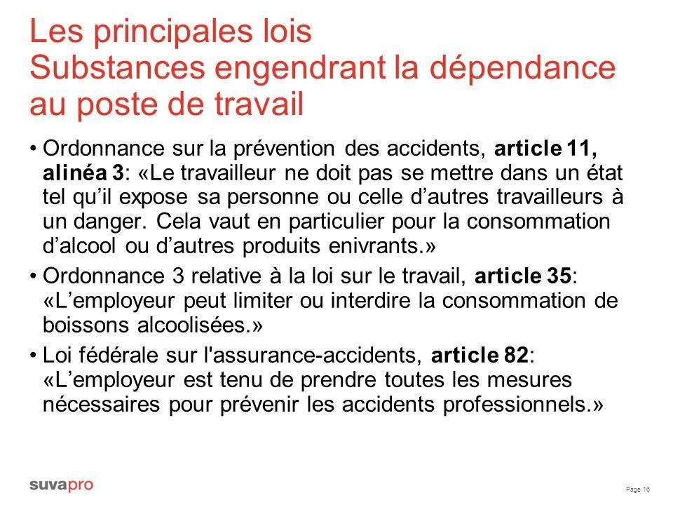 Les principales lois Substances engendrant la dépendance au poste de travail