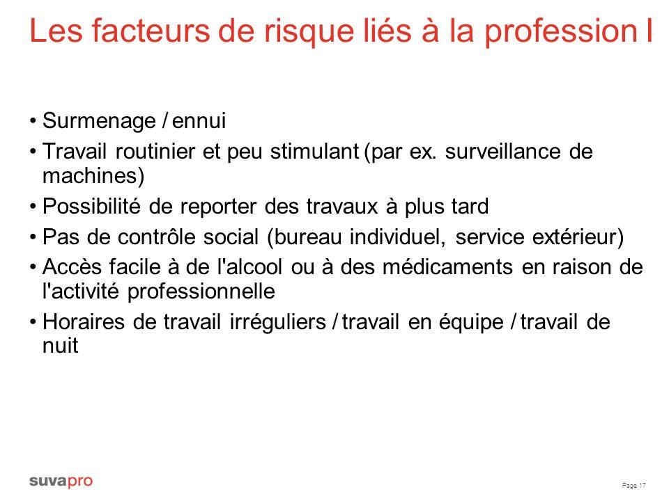 Les facteurs de risque liés à la profession I