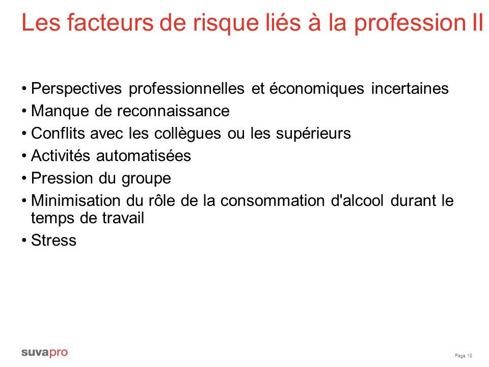 Les facteurs de risque liés à la profession II