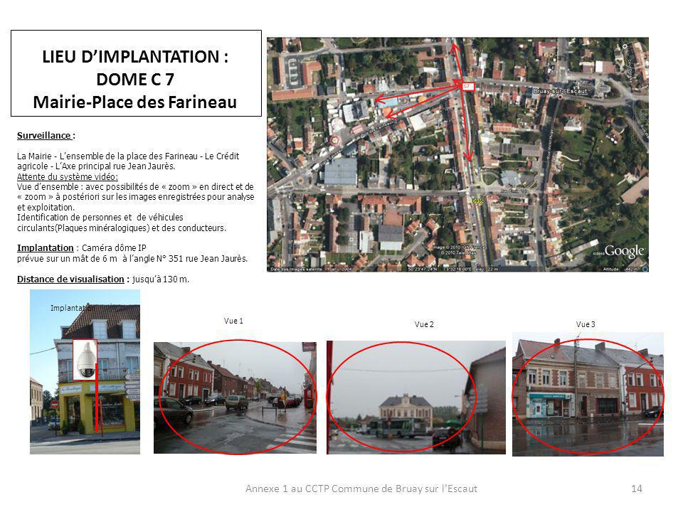 LIEU D'IMPLANTATION : DOME C 7 Mairie-Place des Farineau