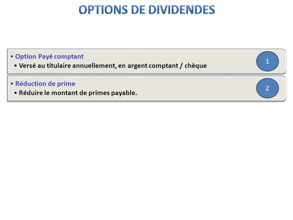 Options de dividendes Option Payé comptant 1