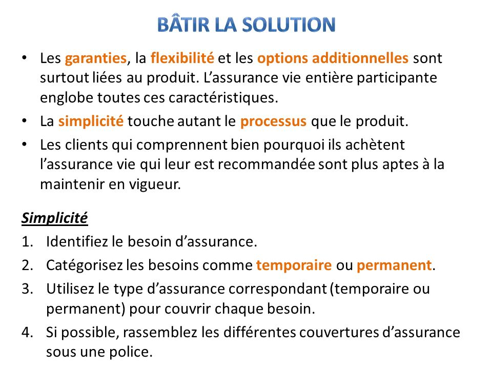 Bâtir la solution